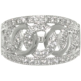 Sterling Silver Pave-set Cubic Zirconia Love and Hope Links Ring (4 options available)