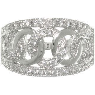 Carolina Glamour Collection Sterling Silver Pave-set Cubic Zirconia Love and Hope Links Ring