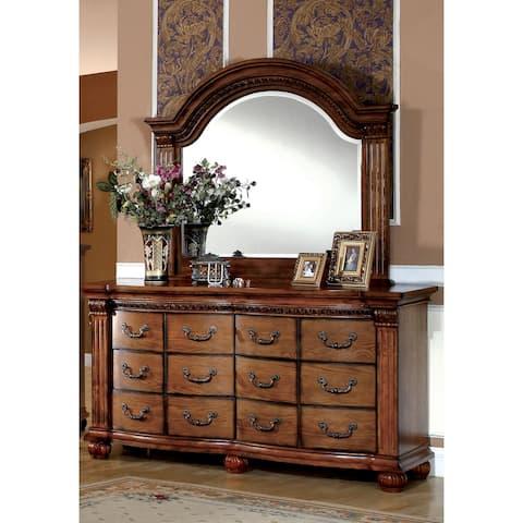 Furniture of America Sern Oak 2-piece Dresser and Mirror Set