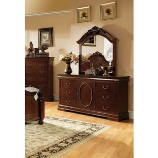 Furniture of America Vina English Style 2-Piece Dresser and Mirror Set