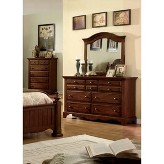 Furniture of America Springbay Light Walnut 2-Piece Dresser and Mirror Set