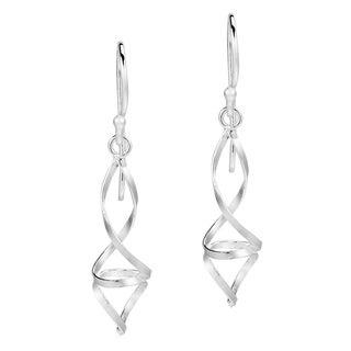 Handmade Chic Modern Double Twist .925 Silver Dangle Earrings (Thailand)