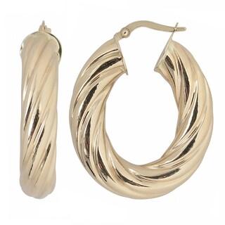 Fremada 10k Yellow Gold Swirl Oval Hoop Earrings