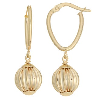 Fremada 10k Yellow Gold Leverback Texture Ball Drop Earrings