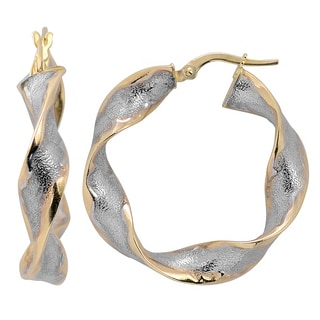 Fremada 10k Gold Two-tone Twisted Flat Hoop Earrings