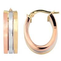 Fremada 10k Tri-color Gold Triple Oval Hoop Earrings