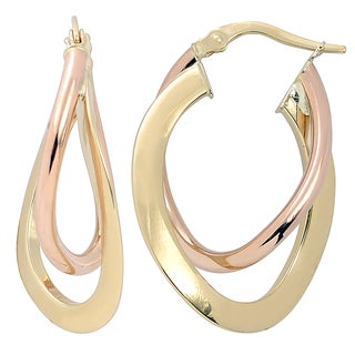 Fremada 10k Two-tone Gold High Polish Flat Overlapping Double Oval Hoop Earrings