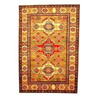 Herat Oriental Afghan Hand-knotted Tribal Kazak Green/ Beige Wool Rug (4'2 x 6')