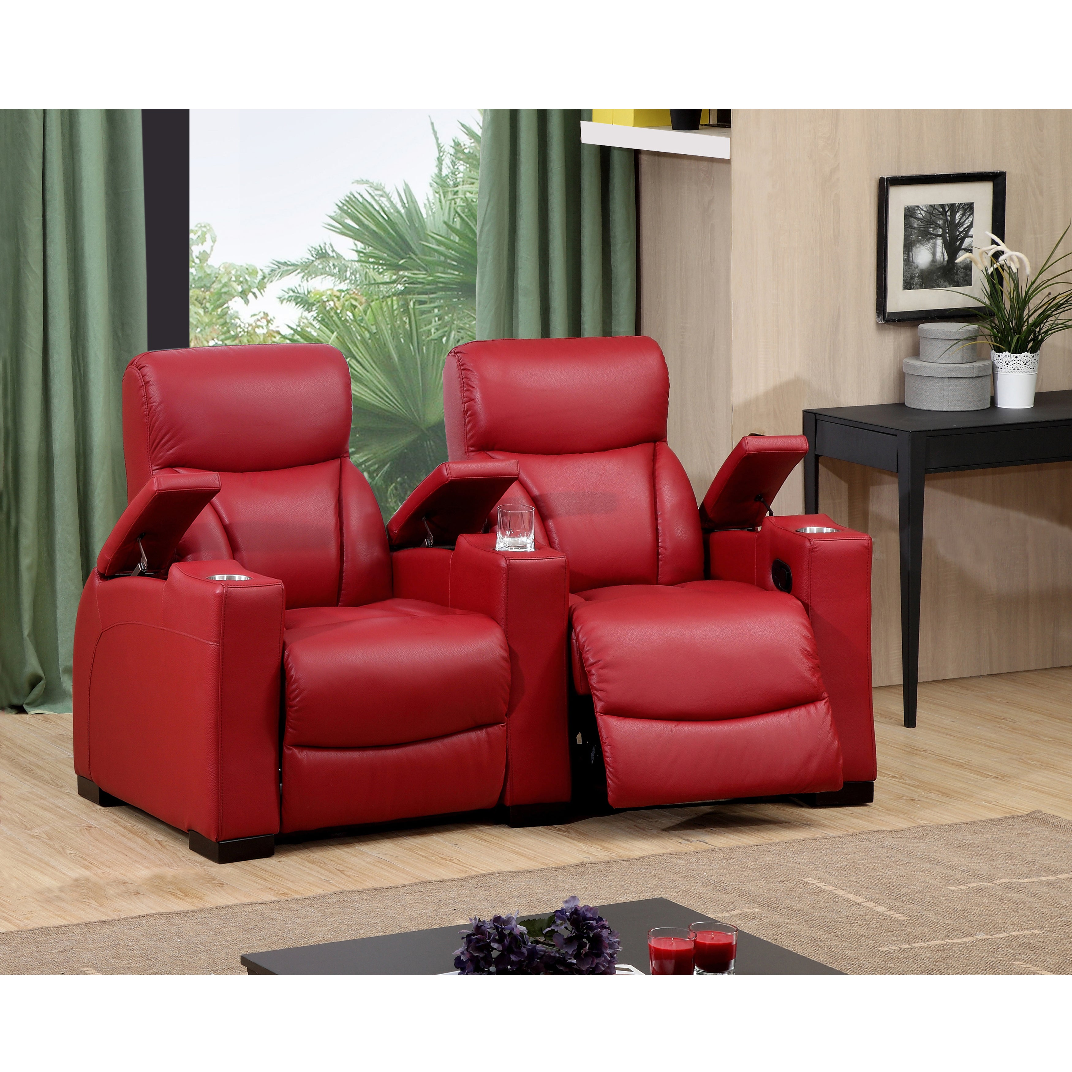 Bristol Two Seat Red Top Grain Leather Recliner Home Thea...