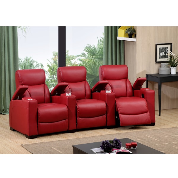 Shop Bristol Three Seat Red Top Grain Leather Recliner