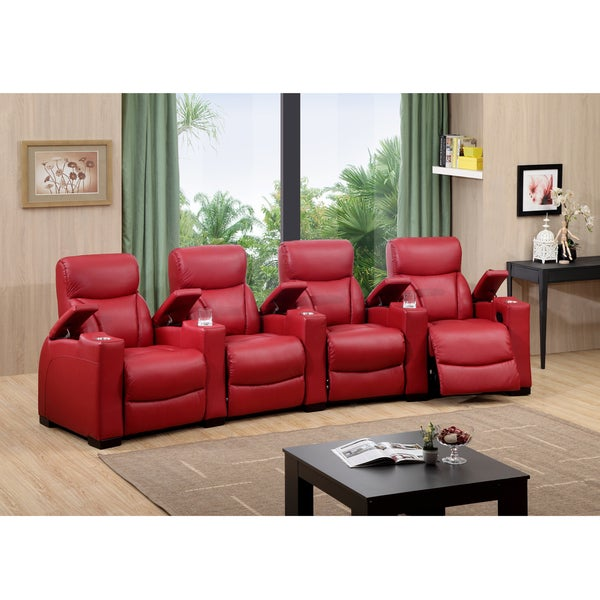 Bristol four seat red top grain leather recliner home for Home theater furniture atlanta