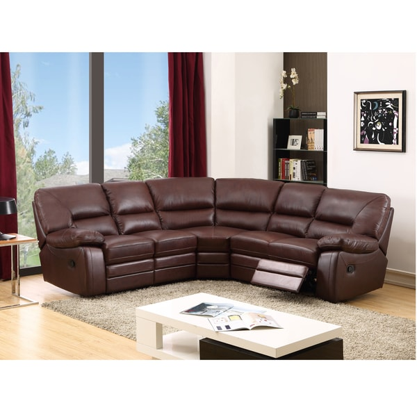 Atlas Brown Top Grain Leather Reclining Sectional Sofa