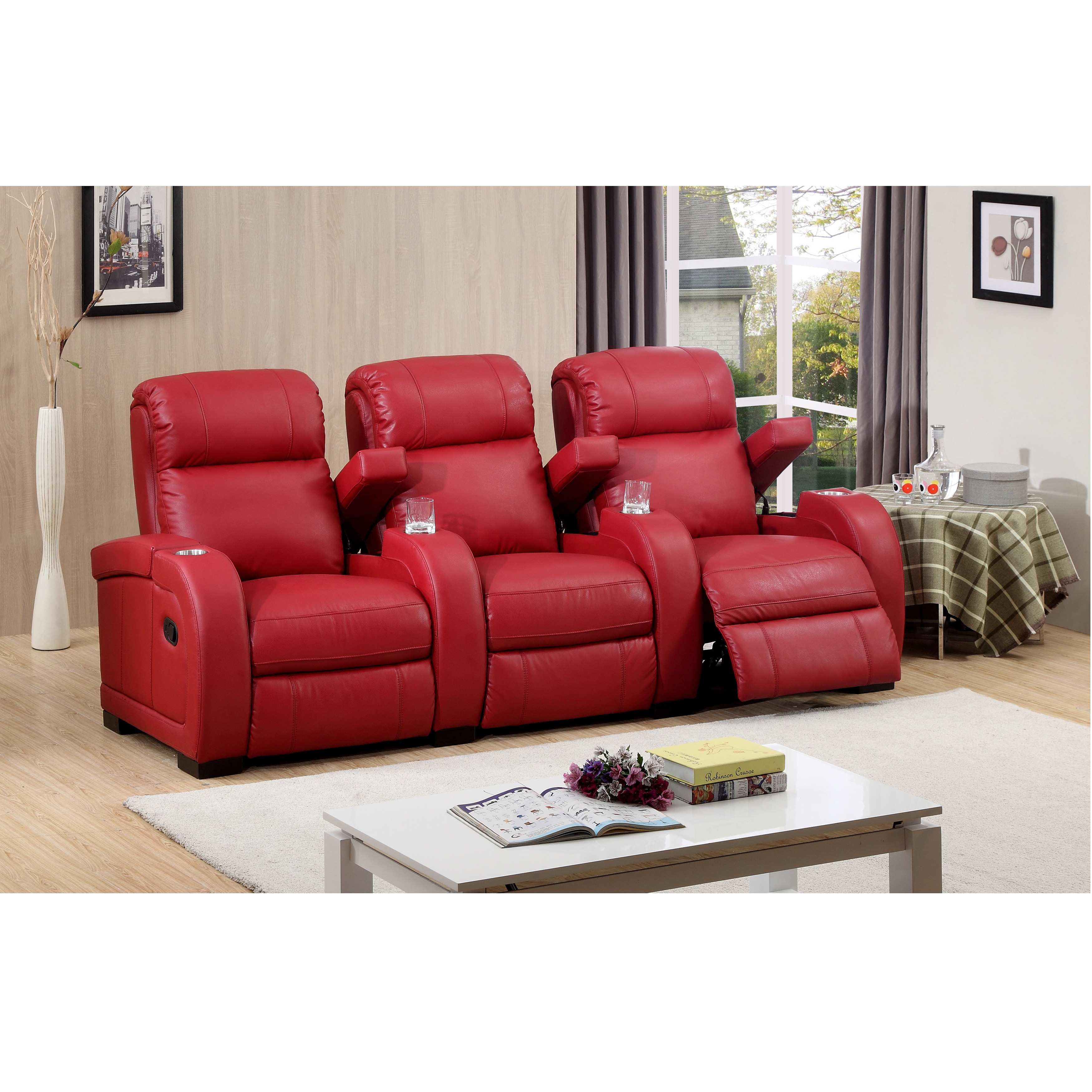 Sensational Hugo Three Seat Red Top Grain Leather Recliner Home Theater Seating Set Squirreltailoven Fun Painted Chair Ideas Images Squirreltailovenorg