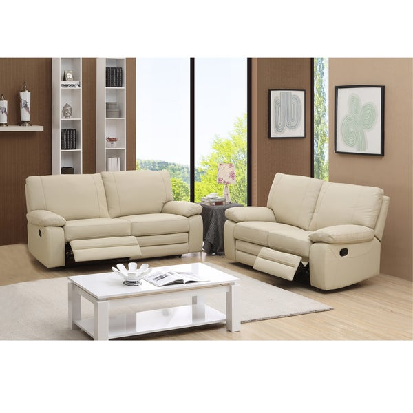 Avery Beige Top Grain Leather Reclining Sofa And Loveseat