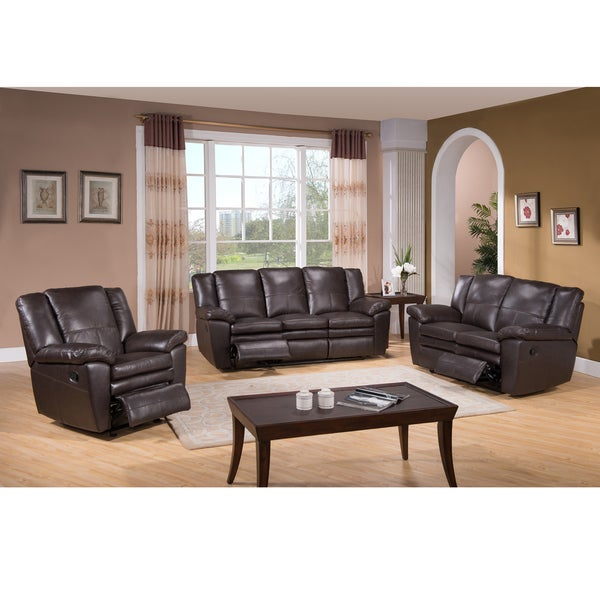 brown top grain leather reclining sofa loveseat and recliner chair