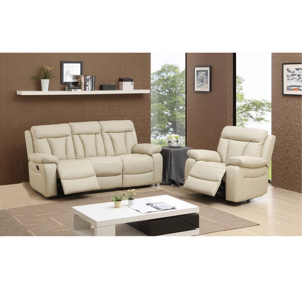 skylar beige top grain leather reclining sofa and glider recliner chair