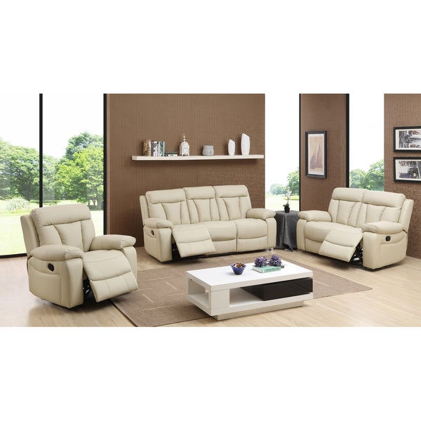 Shop Skylar Beige Top Grain Leather Reclining Sofa