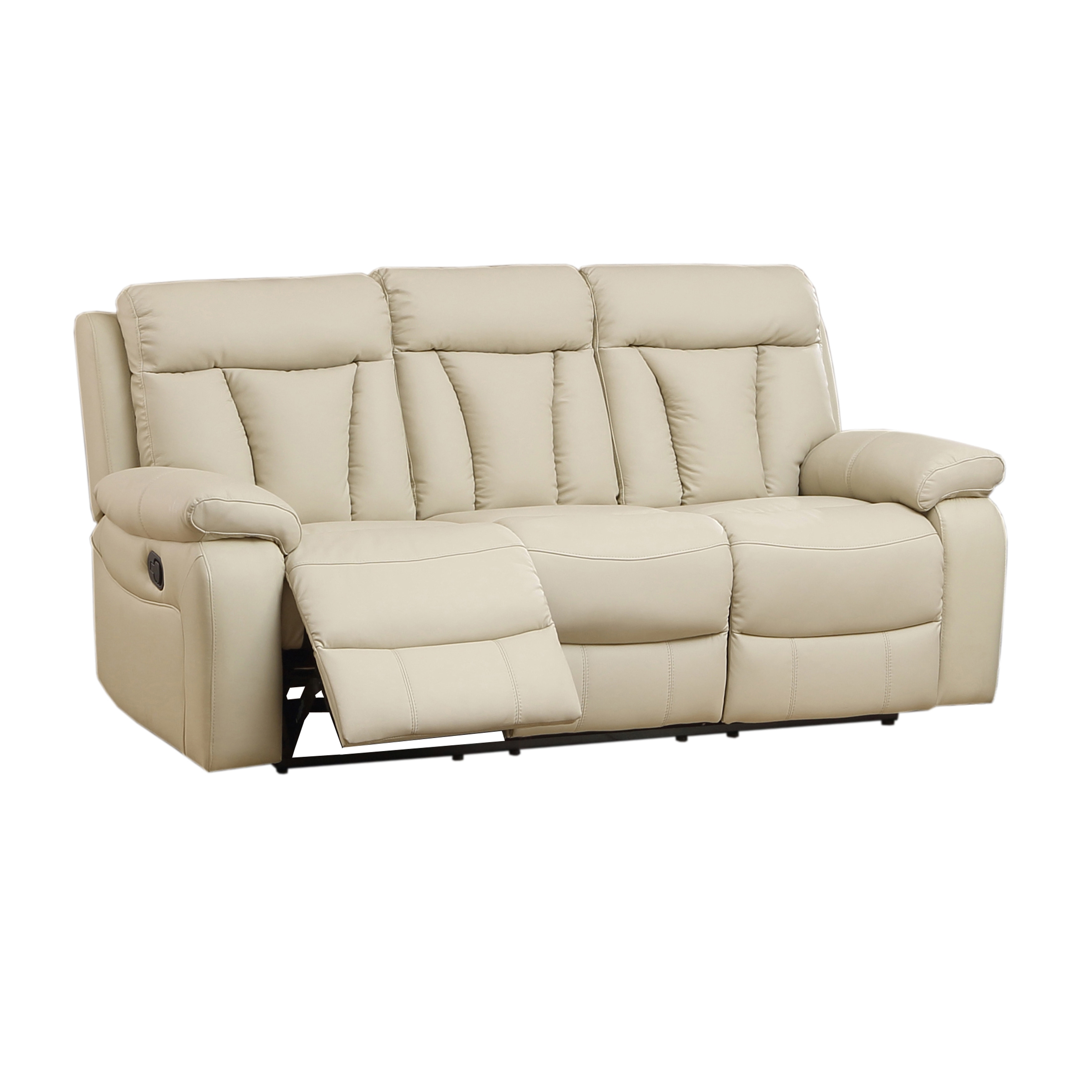 Skylar Beige Top Grain Leather Reclining Sofa Loveseat And Recliner Chair
