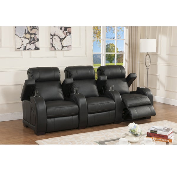 Shop Cooper Three Seat Black Top Grain Leather Recliner