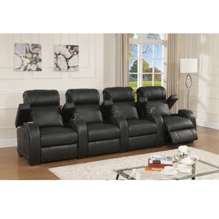 stadium seating couches living room. Cooper Four Seat Black Top Grain Leather Recliner Home Theater Seating Set Living Room Furniture For Less  Overstock com