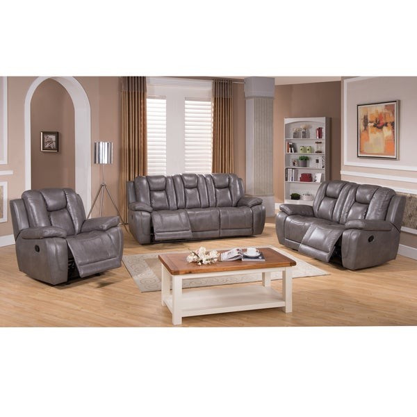 Galaxy Gray Top Grain Leather Lay Flat Reclining Sofa Loveseat