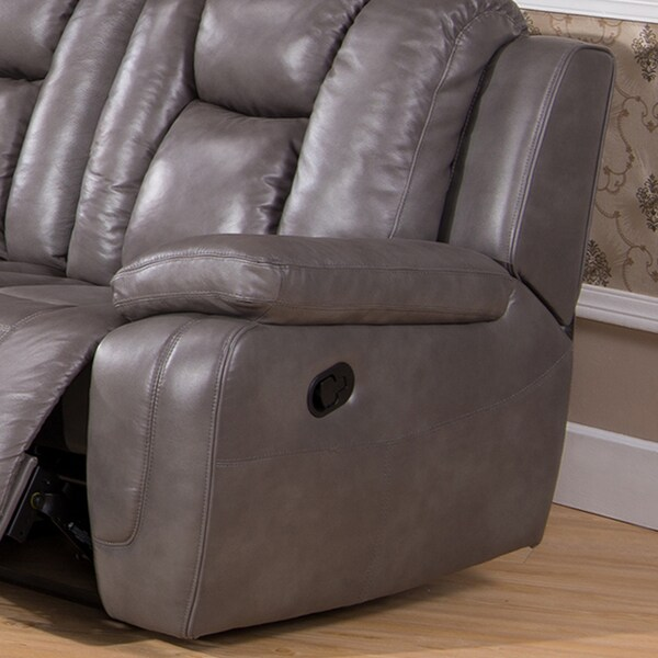 Galaxy Gray Top Grain Leather Lay Flat Reclining Sofa Loveseat and Recliner Chair - Free Shipping Today - Overstock.com - 16577832 & Galaxy Gray Top Grain Leather Lay Flat Reclining Sofa Loveseat ... islam-shia.org