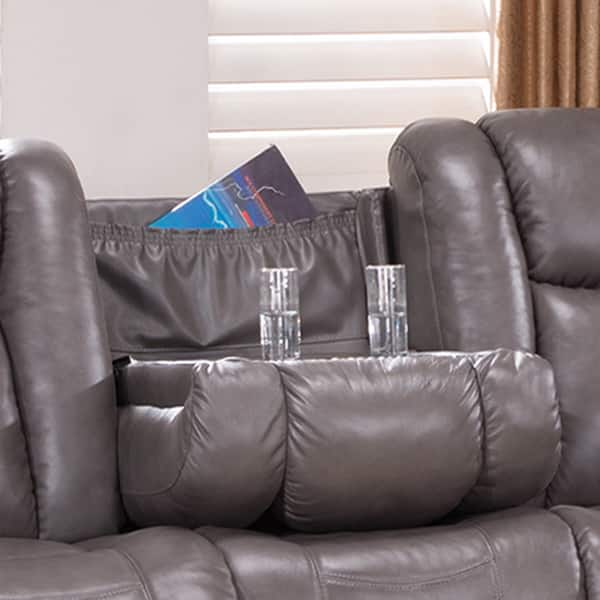 Stupendous Shop Galaxy Gray Top Grain Leather Lay Flat Reclining Sofa Gamerscity Chair Design For Home Gamerscityorg