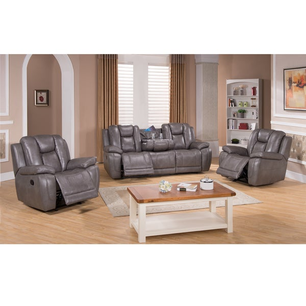 Galaxy Gray Top Grain Leather Lay Flat Reclining Sofa And Two Recliner Chairs