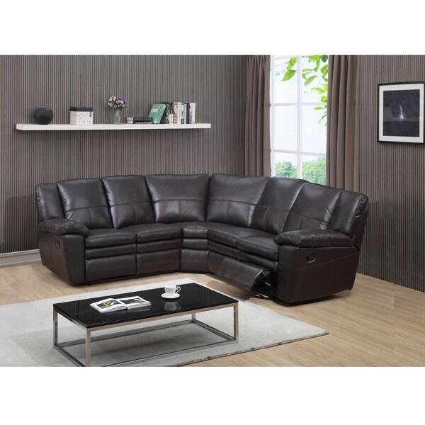Tesla Dark Brown Top Grain Leather Reclining Sectional Sofa - Free