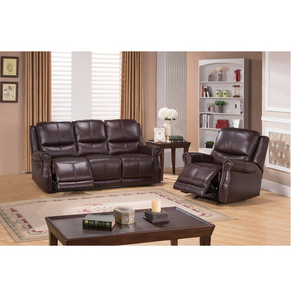 houston brown top grain leather reclining sofa and glider recliner chair