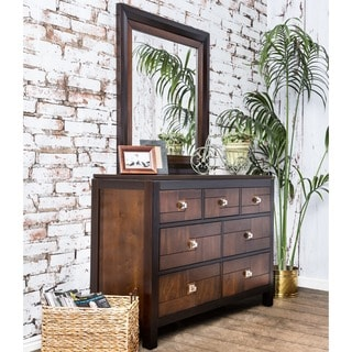 Furniture of America Anteia 2-piece Acacia and Walnut Dresser and Mirror Set