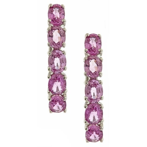 Anika and August 14k White Gold Pink Sapphire Clip-in Earrings