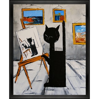 Atelier De Jiel 'Black cat is painting' Framed Fine Art Print