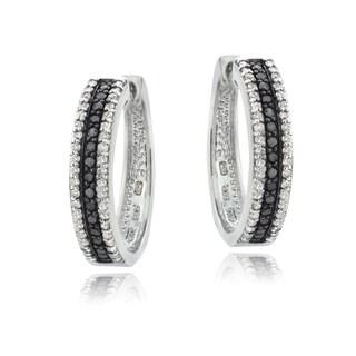 DB Designs Sterling Silver 1ct TDW Black or Blue and White Diamond Hoop Earrings