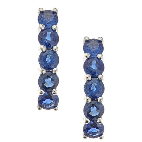 Anika and August 14k White Gold Round-cut Blue Sapphire Earrings