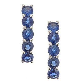 Anika And August 14k White Gold Round Cut Blue Sapphire Earrings