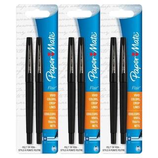 Paper Mate Flair Felt Tip Medium Point Black Ink Pens (3 packs of 2)