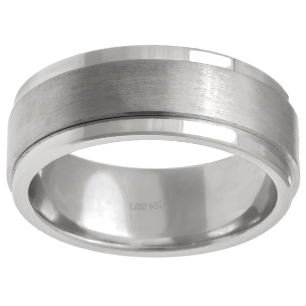 14k White Gold Menx27s Comfort Fit Wedding Band