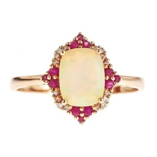D'Yach 14k Rose Gold Cushion-cut Ethiopian Opal, Ruby and Diamond Accent Ring