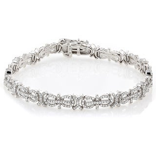 Luxurman 14k White Gold 2 1/4ct TDW Pave Diamond Bracelet (H-I, SI1-SI2)