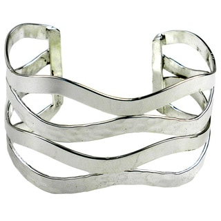 Handcrafted Abstract Silverplated Cuff Bracelet (Mexico)