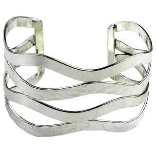 Handmade Abstract Silverplated Cuff Bracelet (Mexico)