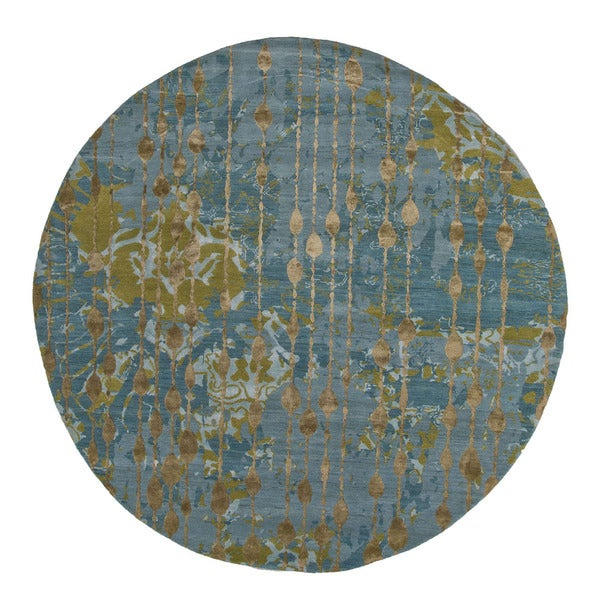 Abstract Pattern Blue Green Wool Viscose Area Rug 8 X