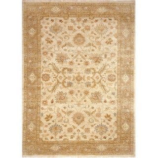 Hand Knotted Oriental Pattern Ivory/ Beige Wool Area Rug (10' x 14')