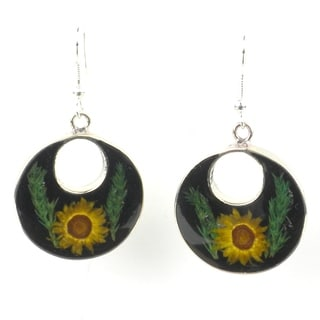 Handmade Nahua Flower Round Drop Earrings (Mexico)