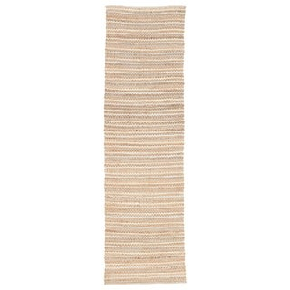 "Haven Natural Stripe Beige/ Blue Area Rug (2'6"" X 9')"