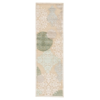 "Florence Medallion Beige/ Green Area Rug (2'6"" X 8')"