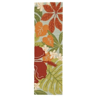 "Kahiwa Indoor/ Outdoor Floral Multicolor/ Blue Area Rug (2'6"" X 8')"