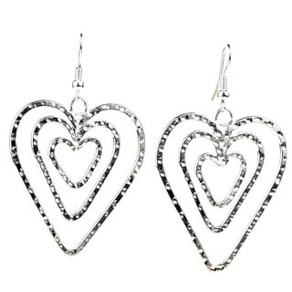 Handmade Triple Heart Silver Overlay Earrings (Mexico)