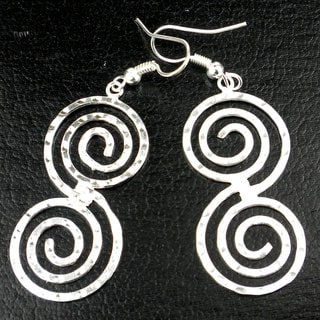 Hammered Scroll Silver Overlay Earrings (Mexico)